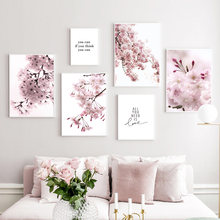 Cherry Blossoms Pink Flower Quotes Nordic Posters And Prints Wall Art Canvas Painting Wall Pictures For Living Room Home Decor