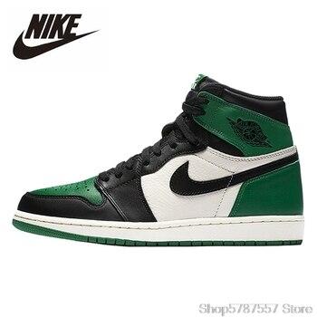 Original Nike Air Jordan 1 Retro High Pine Green Basketball Shoes Men Women Unisex Outdoor Sneakers 555088-302