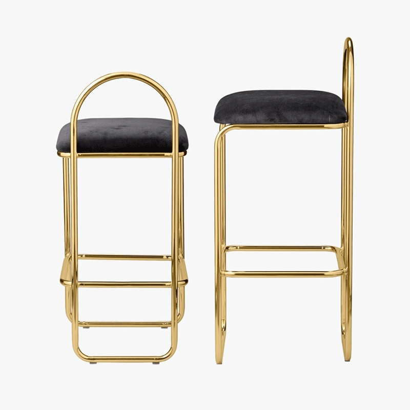 Net Red Bar Chair Gold High Stool Ins Creative Simple Front Desk  North European  Household Coffee