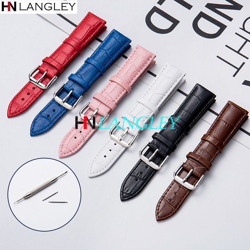 Full Size General Leather Watch Bands Six Color 10/12/13/14/15/16/17/18/19/20//22/24 Mm Size Replacement Watch Strap With Tool