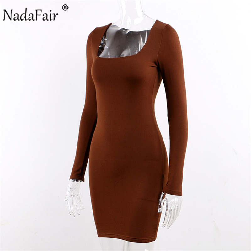 Nadafair Square Collar Long Sleeve Autumn Winter Casual Dress Women Sexy Club Wrap Basic Red Black White Bodycon Mini Dress
