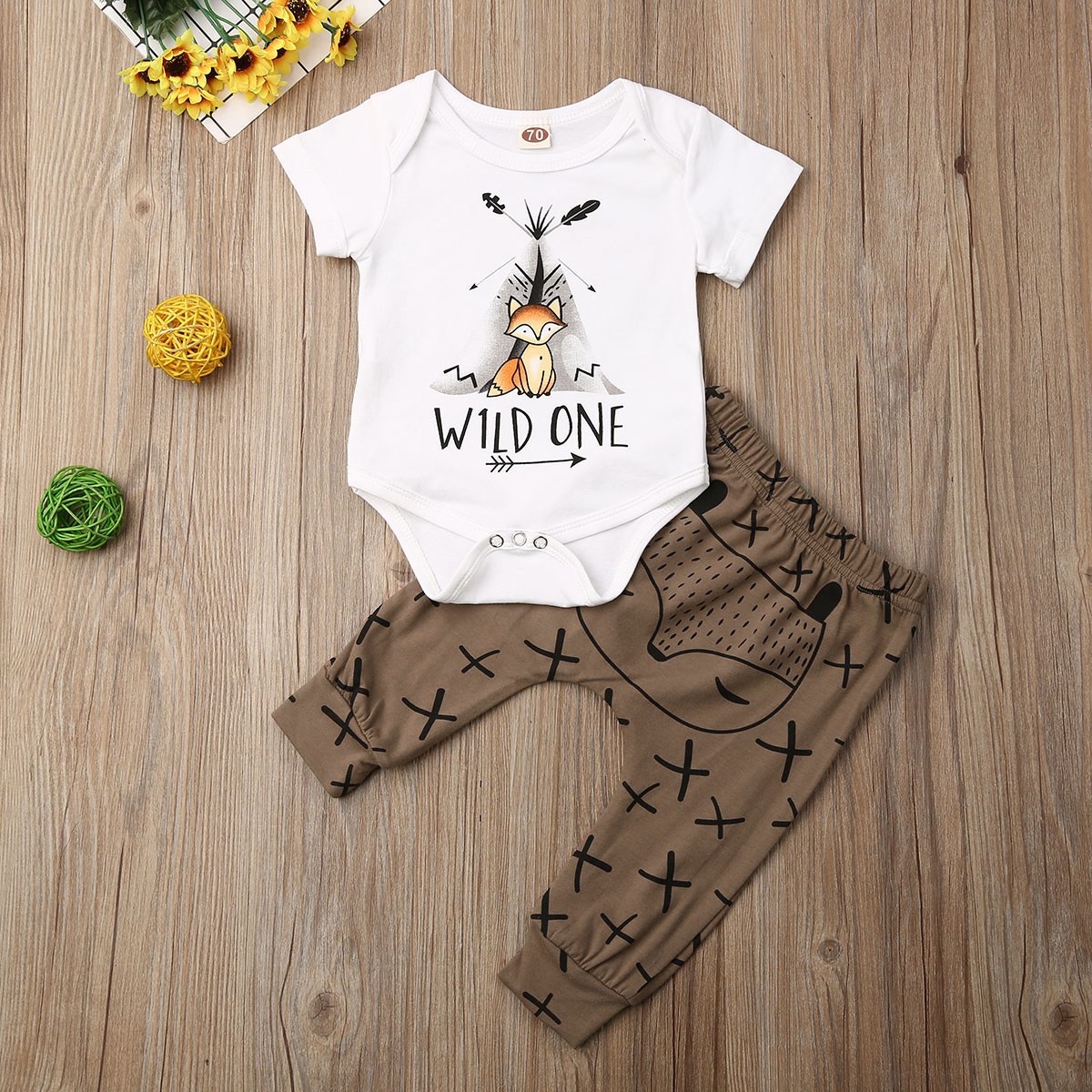 Pudcoco Newborn Baby Boy Girl Clothes Cartoon Animals Print Short Sleeve Romper Tops Long Pants 2Pcs Outfits Cotton Clothes Set