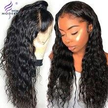 Nowoczesne pokaż malezyjski Water Wave peruka peruki typu Lace z ludzkich włosów dla czarnych kobiet pre oskubane koronki Frontal peruka z włosów typu remy 150% gęstość