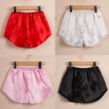 Women  Fashion Plus Size Satin Silky Elastic Waist Sleepwear  Lingerie Pajama Pant Nightwear Shorts