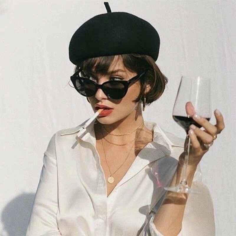 الشتاء الدافئة فو الصوف قبعة المرأة الفتيات الفرنسية الفنان قبعة صغيرة كاب أحمر أسود بنفسجي بيج orange Kawaii شقة أعلى قبعات تدفئة