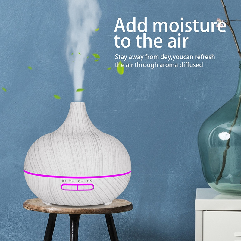 EAS-400Ml Ultrasonic Electric Air Humidifier Aroma Oil Diffuser White Wood Grain 7 Colors Led Lights For Home Uk Plug