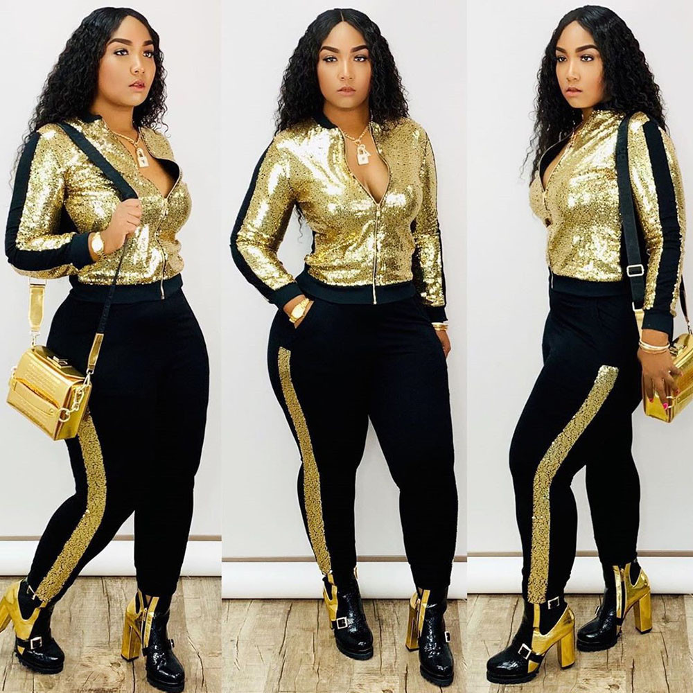 Autumn Winter Sequin 2 Piece Set Women Tracksuit Long Sleeve Jacket Top Pants Suit Streetwear Sparkly Matching Sets Club Outfits