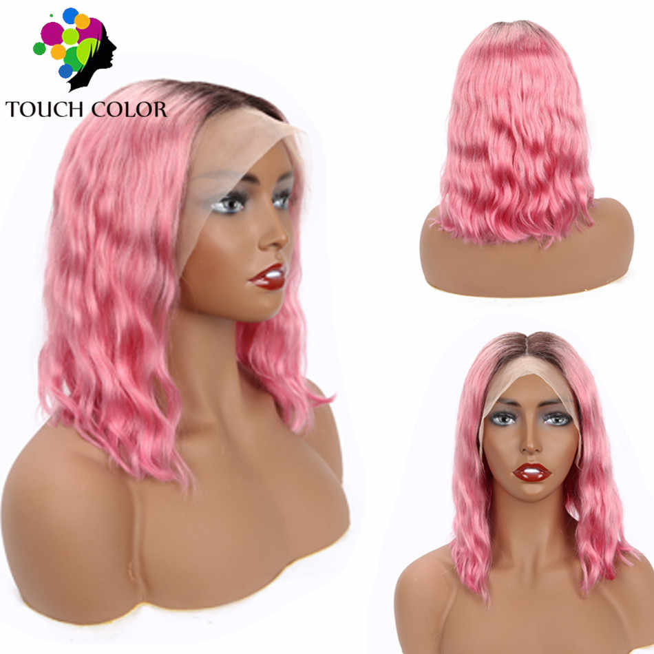 Ombre Colored Pink Lace Frontal Wig Brazilian Body Wave Short Bob Wigs For Women Remy Human Hair 13x4 Lace Frontal Wig Pre Pluck