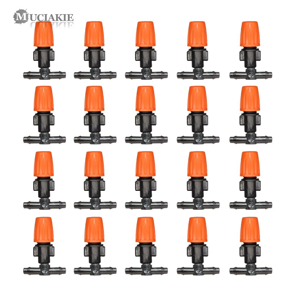 MUCIAKIE 20PCS Adjustable Misting Nozzle With Tee Joint For Garden Watering Irrigation Sprinkler For 4/7mm 1/4 Inch Tubing Hose