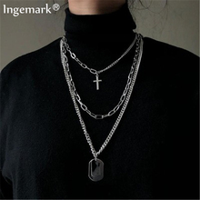 Ingemark Punk Multi Layer Cross Pendant Choker Necklace for Women Hip Hop Sequin Chunky Chain Necklaces Christian Couple Jewelry ingemark vintage virgin mary pendant choker necklace multi layer crystal clavicle long chain necklace christian couple jewelry