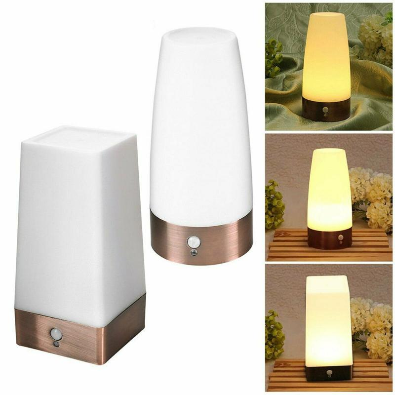 Wireless PIR Motion Sensor LED Night Light Battery Powered Table Lamp Warm White Square And Round