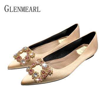 Women Flats Wedding Shoes Rhinestone Pointed Toe Cinderella Crystal Shoes Flat Slip On Gold Spring Female Party Shoes Plus Size