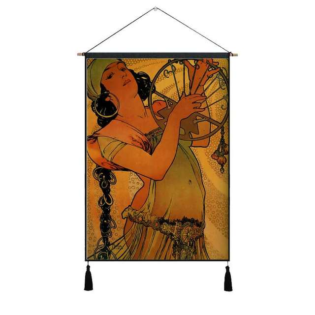 Retro Gypsy Girl Canvas Tapestry Mawgie