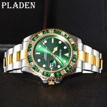 PLADEN Top marka mężczyźni sport zegarki kwarcowe lupa Auto data Luminous zegarki wodoodporne pływać nurkowanie zielony diament zegary