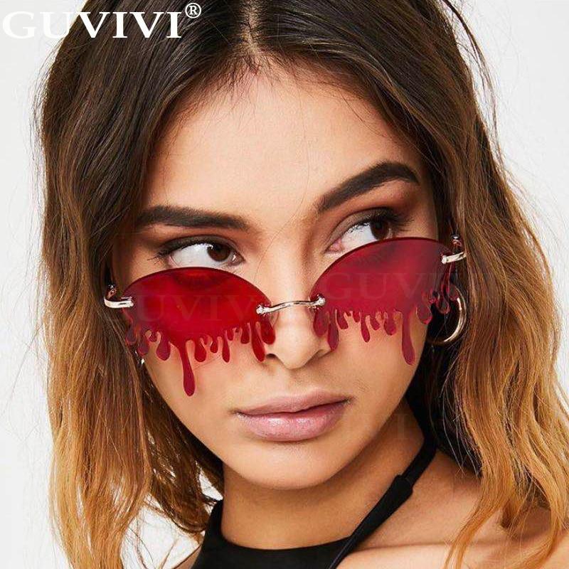 Rimless Steampunk Sunglasses Women 2020 Fashion Retro Vintage Sunglasses Men Frameless Punk Tears Shape Sunglasses Eyewear UV400
