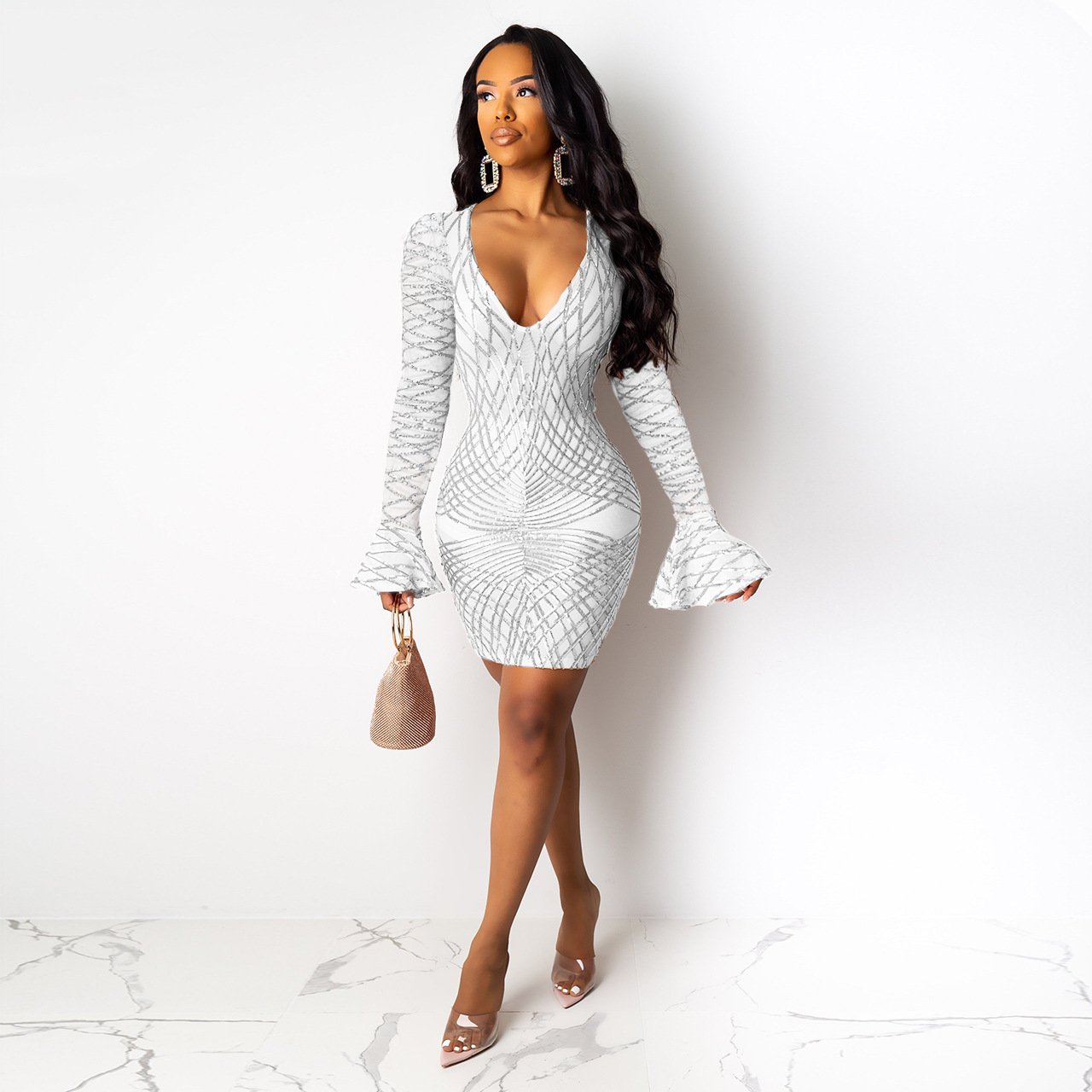 BacklakeGirls Sexy V Neck Full Sleeve White Cocktail Dress Shining Sequined Short Party Dresses Vestido Cocktail Cocktailkleid