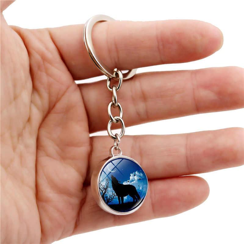 Howling Wolf และ Moon พวงกุญแจ Charms แฟชั่นคู่ Cabochon Glass Ball พวงกุญแจรถ Key Holder สำหรับผู้ชายผู้หญิงของขวัญ