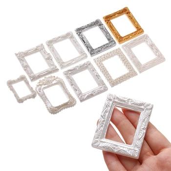 2pcs Resin Photo Frame Miniature Accessories Mini Photo Frame Crafts Simulation Furniture Doll House Decoration