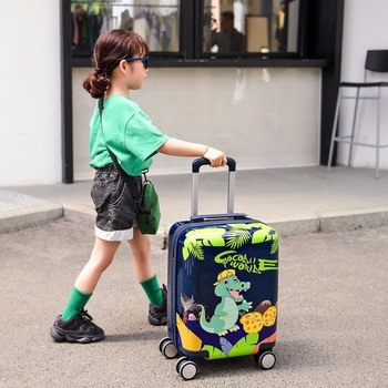 18 inch Cartoon kid's suitcase travel trolley luggage bag carry on cabin rolling luggage with wheels children's bag cabin case