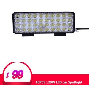 10 sztuk 120W reflektory LED 40*3W kolumna świetlna do samochodu dla Truck SUV żeglarstwo polowanie wędkarstwo wodoodporne światło robocze oświetlenie zewnętrzne