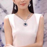 Luxury Fashion Sapphire Emerald Stone Necklace Flower Rattan Diamond Sweater Chain Pendant Inlaid Super Flashing Large Gemstone