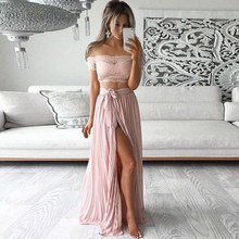 2 Pieces Women Small Fragrance Wind Sexy Solid Color Lace Strapless Halter Tops+Pleated Skirt Suit sexy halter solid color crop top and slit skirt women s suit
