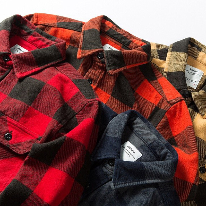 100% cotton heavy weight retro vintage classic red black spring autumn winter long sleeve plaid shirt for men women 2