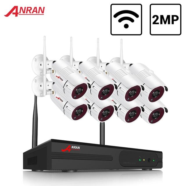 Anrun 8CH كاميرا أمان لاسلكية نظام 1080P فيديو لاسلكية عدة كاميرا المراقبة H.265 HDD 2MP IP66 مجموعات NVR اللاسلكية