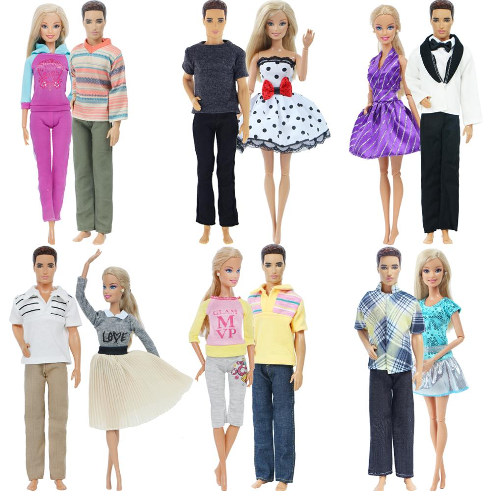 2 Pcs/Set Couple Doll Dress For Barbie Doll Ken Doll Boys Girls Doll Daily Casual Wear Clothes Accessories Kids Toy 12''