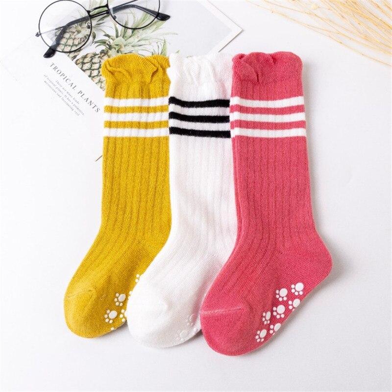 3 Pairs//Lot Baby Socks Knee High Boy Girl Infant Toddler Cotton Long Anti Slip Y