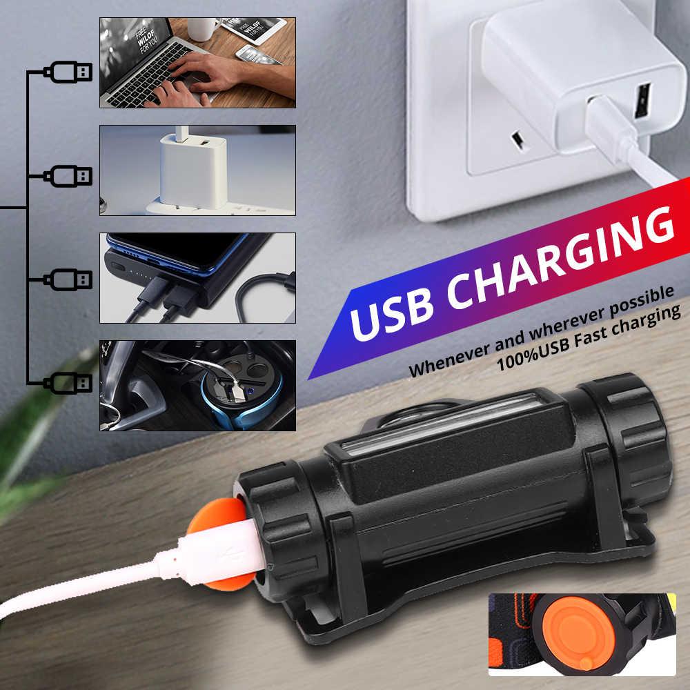 Phare de vélo LED 2 lumière mode USB Rechargeable COB phare avec aimant tour lampe étanche vélo lumière cyclisme éclairage