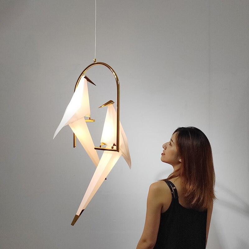 Nordique oiseau pendentif LED lumières Origami grue oiseau pendentif lampe chambre salon salle à manger intérieur décor à la maison luminaires de cuisine - 2