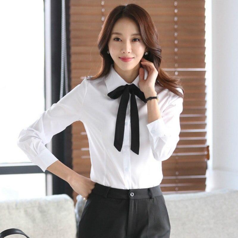 Women Blouse Bow Tie Turn Down Collar Chiffon Blouses Spring Autumn White Slim Shirt Office Ladies Tops Blusas Mujer De Moda