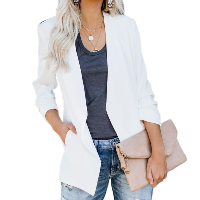 Women Plus Size Ruched 3/4 Sleeve Business Coat Open Front Solid Color Slim Work Office Blazer Cardigan Jacket with Pocket S-4XL