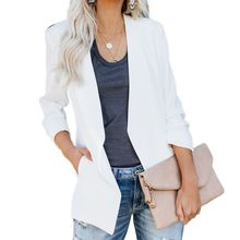 цена на Women Plus Size Ruched 3/4 Sleeve Business Coat Open Front Solid Color Slim Work Office Blazer Cardigan Jacket with Pocket S-4XL