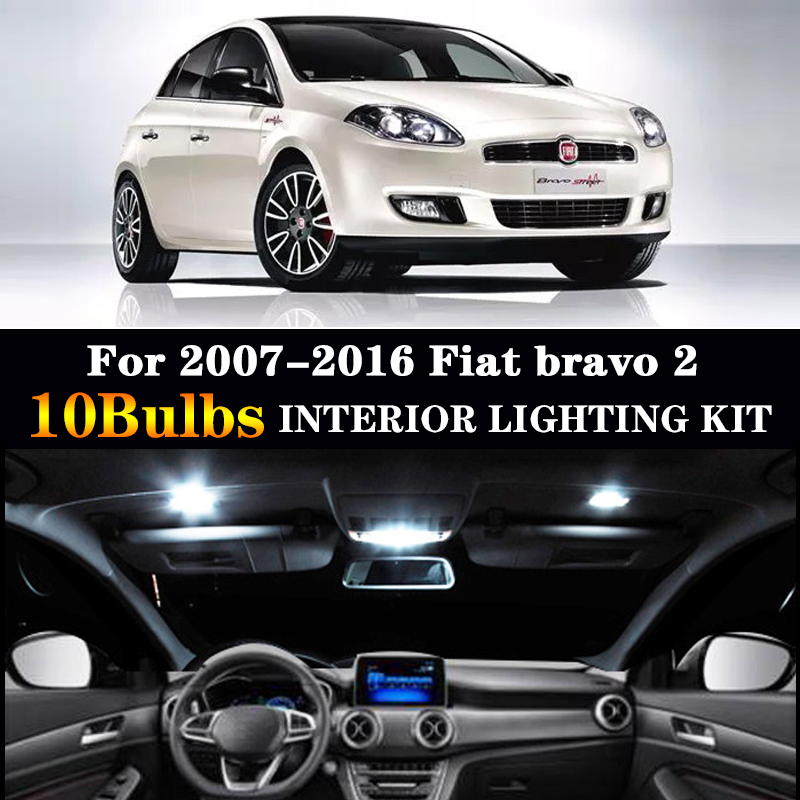 10pc X Error Free Car LED Bulbs Interior Reading Dome Light Kit For 2007-2016 Fiat Bravo 2 II MK2