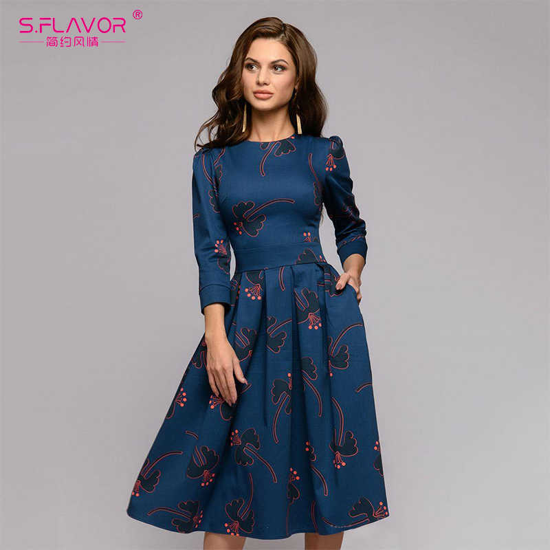 AS Rasa Wanita Printing Midi Dress 2020 Fashion O-Leher Slim Musim Dingin Gaun Wanita Kasual A-line Vestidos De
