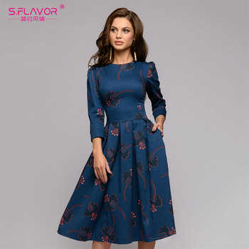 S.FLAVOR women flowers printing Autumn dress Casual 3/4 sleeve simple Winter long dress for female fashion loose Party vestidos - DISCOUNT ITEM  42% OFF All Category