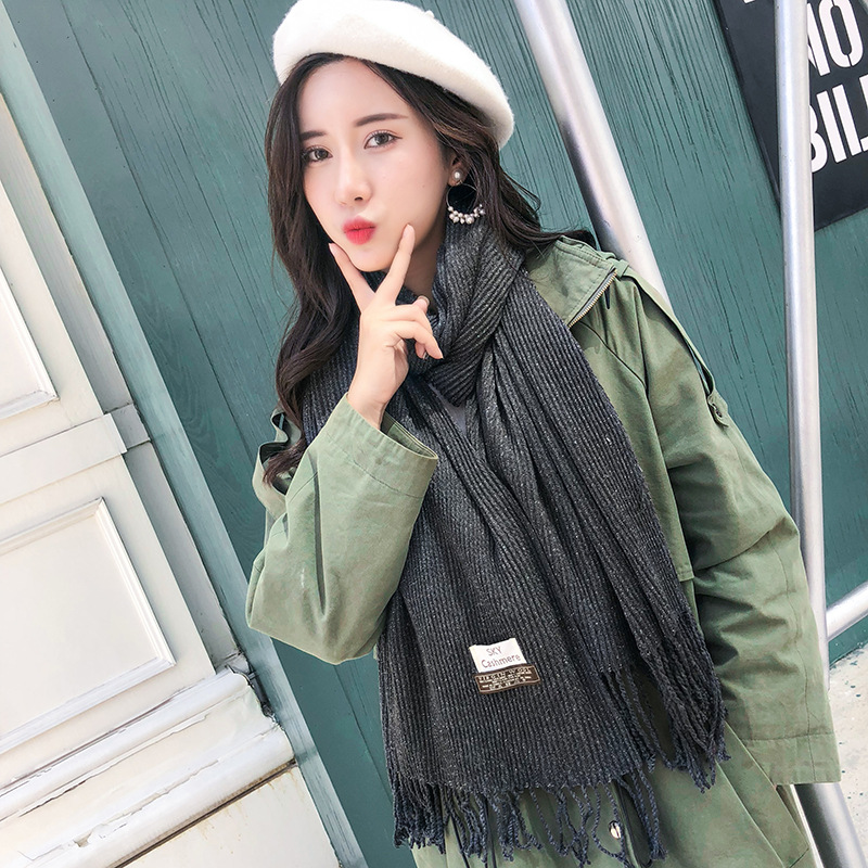 Autumn And Winter Silver Pleated Thick Warm Faux Cashmere Scarf South Korea European And American Minimalist Solid Color Liangsi