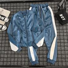 Mooirue Women 2 Piece Tracksuit Pockets Casual Loose Coat Striped Elastic Long Pant Sets Harajuku Cardigan Streetwear Autumn Set