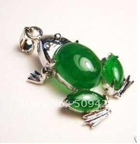 Envío Gratis> Nuevo hermoso colgante de collar de rana de jade verde