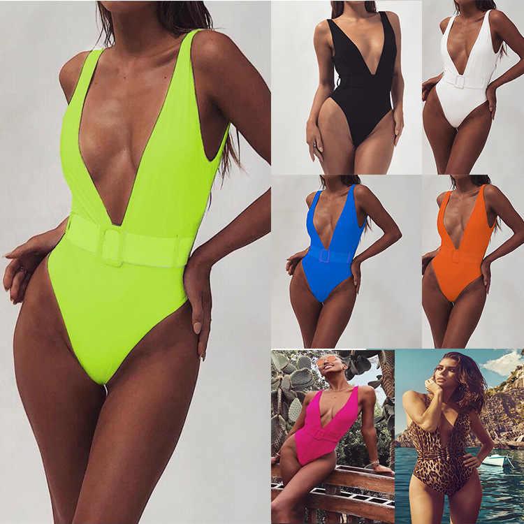 ملابس سباحة نسائية مثيرة من قطعة واحدة ملابس سباحة بكيني حزام خصر بدون ظهر بذلة استحمام مبطنة رافعة قطعة واحدة