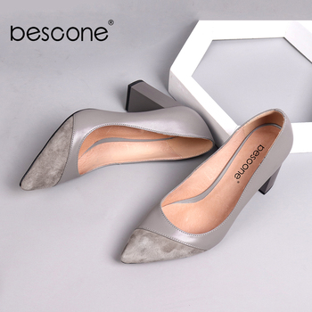 BESCONE Women Pumps Fashion Genuine Leather Shallow Pointed Toe Kid Suede Shoes Handmade  High Square Heel Ladies Shoes BC141 handmade christmas green emerald suede sheet leather heel greenery wedding shoes with knot open toe ankle strap d orsay pumps