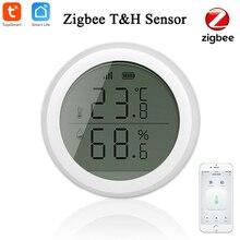 Tuya Zigbee مستشعر درجة الحرارة والرطوبة الذكي ، شاشة LED ، مصدر بطارية ، للمنزل الذكي Zigebee