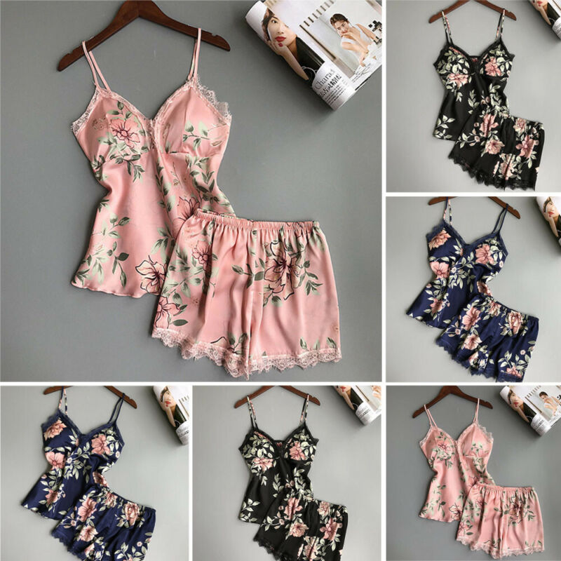 Plus Size Women Satin Lace Sleepwear Nightwear Ladies 2Pcs Short Pyjamas Set