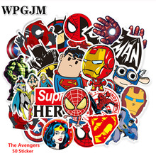 50 Pcs Don't Repeat Super Hero Cool Stickers for Laptop Car Styling Phone Bicycles Luggage PVC Waterproof Marvel Sticker