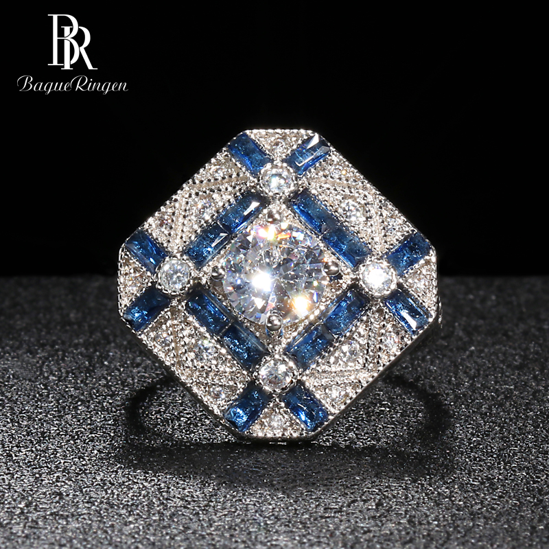 Bague Ringen Geometry Silver 925 Jewelry Gemstones Ring For Women Round Zircon Rectangle Sapphire Female Gift Party Accessory