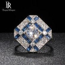 Bague ringen geometria prata 925 jóias anel de pedras preciosas para as mulheres redondo zircão retângulo safira feminino presente festa acessório
