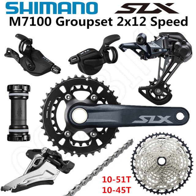 シマノdeore slx M7100グループセット26 36t 170 175ミリメートルクランクセットマウンテンバイクグループセット2x12 Speed 10 51t 10 45t M7100リアディレイラー