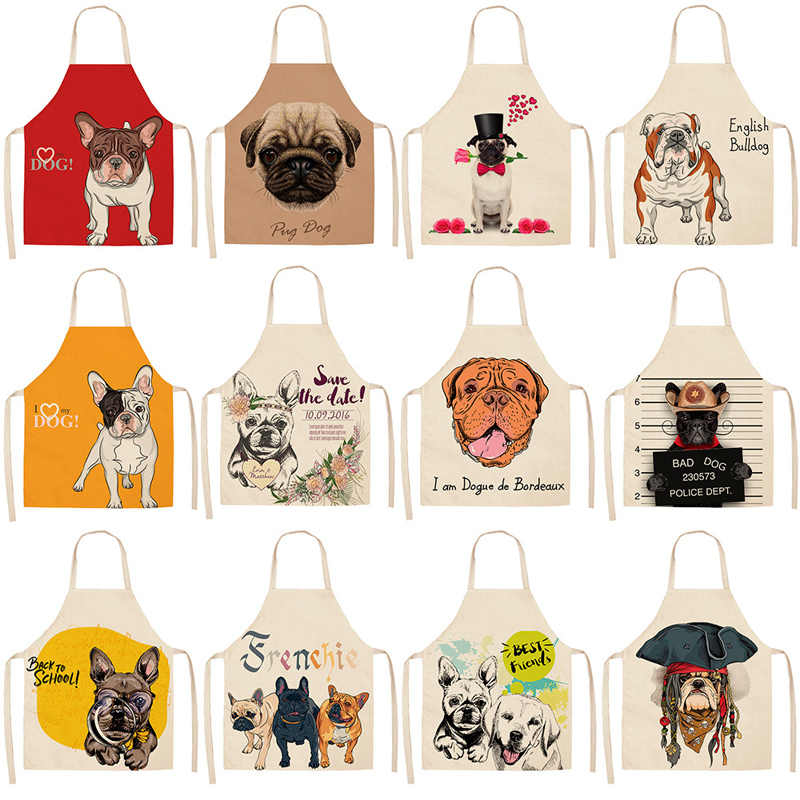 Parent-child Kitchen Apron Funny Cartoon Dog Print Sleeveless Cotton Linen Aprons for Kids Men Women Home Cleaning Tools